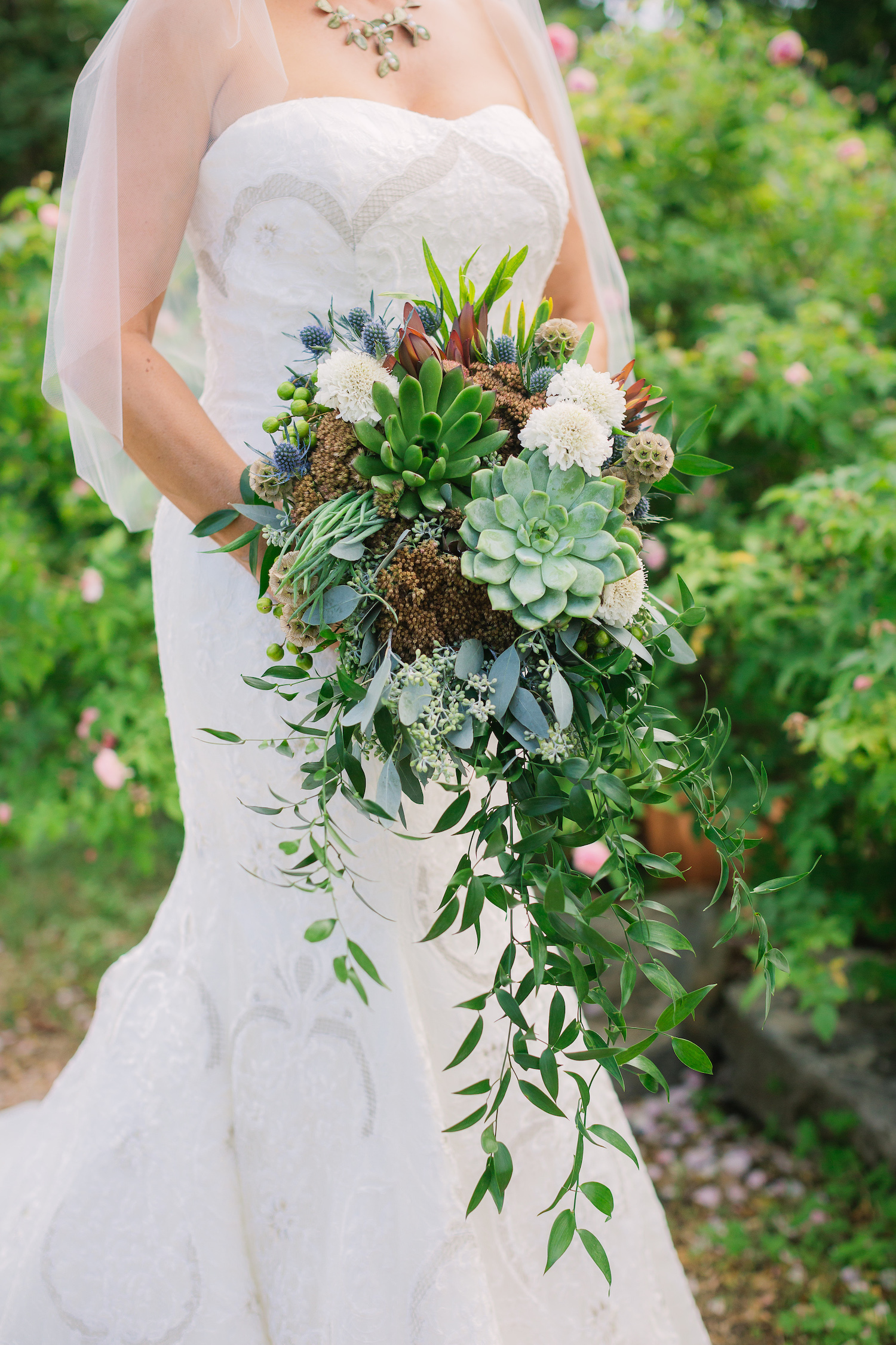 Fern Succulent Bouquet Vintage Lace Weddings